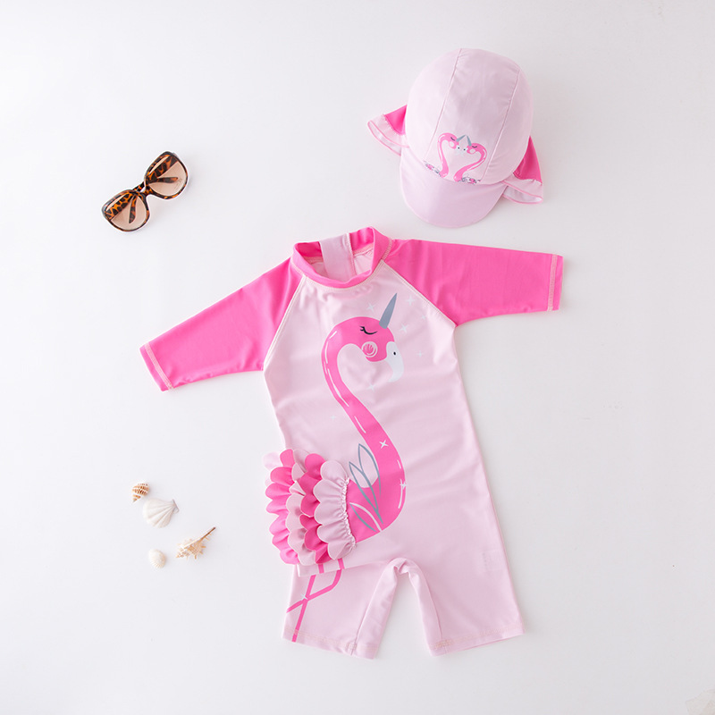 One-piece Swimsuit For Children Dark Pink Sleeve Stereo Swan Fish With Hat-Children Hot Springs Bathing Suit
