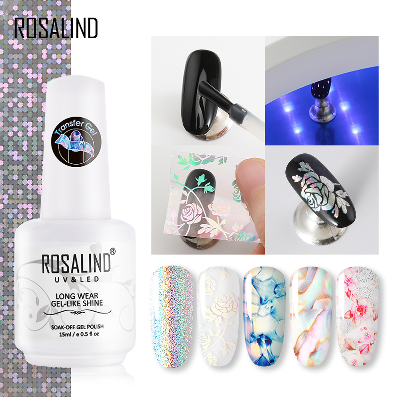 ROSALIND Transfer Gel Nail Polish Kit Need Tranfer Sticker For Manicure Nail Art Set Gel Lacquer Base Top Coat Varnishes