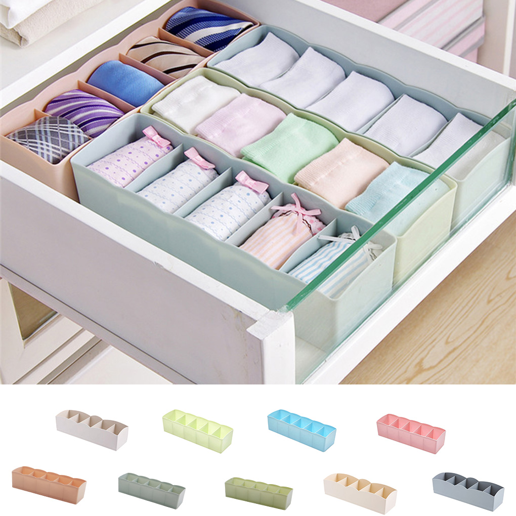 Cool Design Plastic Drawer Organizer Wholesale Tie Bra Socks Container Portable Clothing Divider Storage Box Underwear Organizer