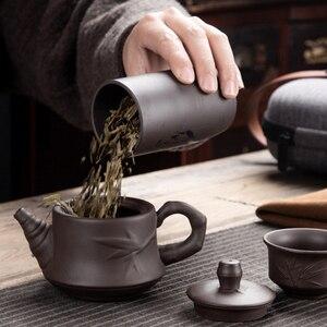 Lila Ton Kung Fu Teekanne 230ml Chinesischen Porzellan Yixing Zisha Tee Topf 4 Tassen Kung Fu Reise Tee Tasse handmade Tee Topf Tasse Set