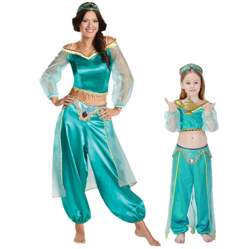 2019 Women's Girls Halloween Cosplay Party Belly Dance Aladdin Princess Jasmine Costume Adults Fashion Costumes For Women Dress