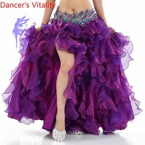 Image 4 - ¡Gran oferta! Vestido de danza del vientre senior yarn, disfraces sexis para mujeres, falda de escenario de baile shasha Latina para mujeres, faldas divididas para danza del vientre
