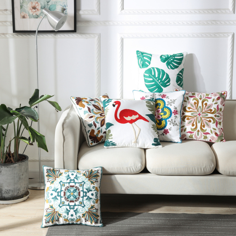 ZENGIA Boho Geometric Embroidered Cushion Cover Vintage Flower Embroidery Pillowcase Ethnic Pillow Cover For Sofa Home Decoratio