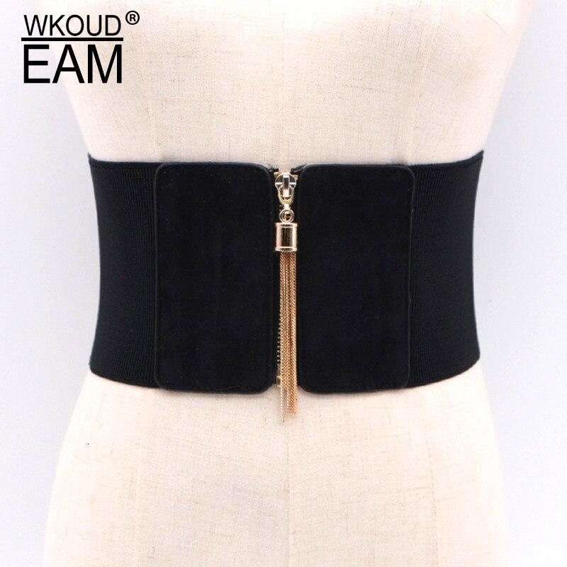 WKOUD EAM 2020 New Fashion Solid Wid Belt Women Zipper Elastic Band Girdle Slim Waist Seal Tide High Street Girdle Female A132