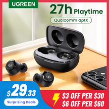 UGREEN-auriculares inalámbricos TWS con Bluetooth 5,0, dispositivo Qualcomm aptX, estéreo, carga de USB-C, 27H de tiempo de reproducción