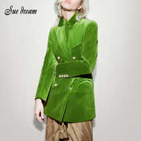 2019 Осень Новый женский свободный элегантный костюм с длинным рукавом пальто с v-образным вырезом двубортный зеленый бархатный костюм пальт...
