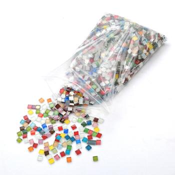 Quail100 Pcs szklana mozaika majsterkowanie interaktywne materiały dla rodziców i dzieci unikatowe upominki kreatywne prezenty wielokolorowe tanie i dobre opinie Płytki mozaiki