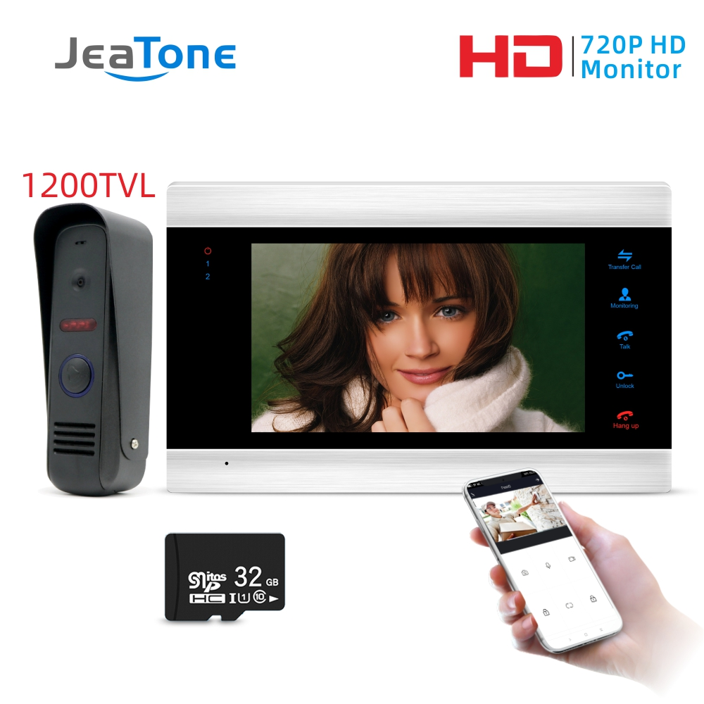 Jeatone 7inch New WiFi IP Video Door Phone Intercom System With Waterproof 1200TVL Mini Doorbell Camera, Support Remote Unlock