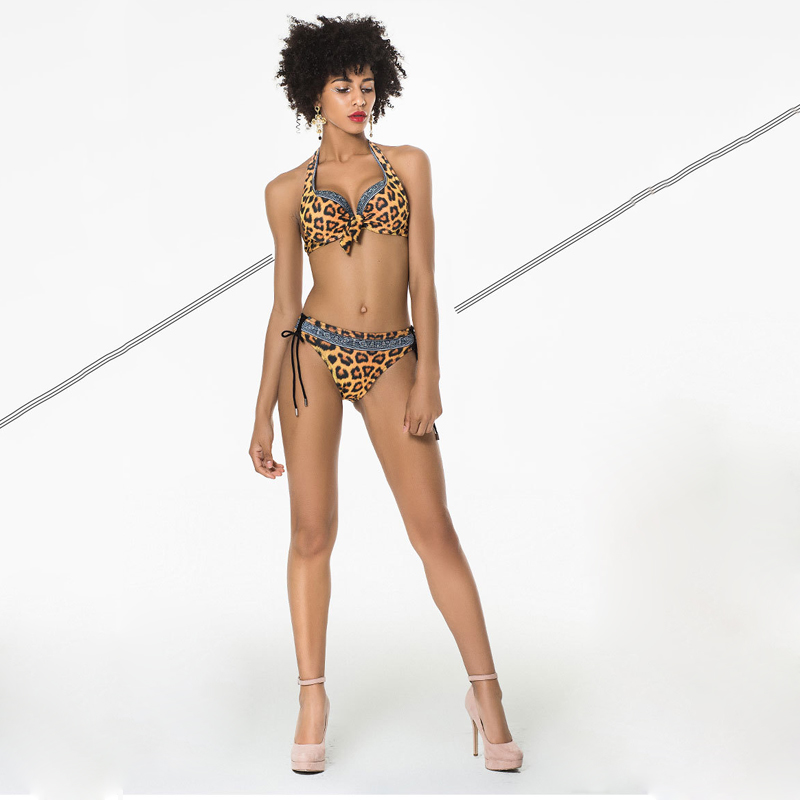 Bikini Womens Swimwear Sexy Leopard Lace Summer Beach Set