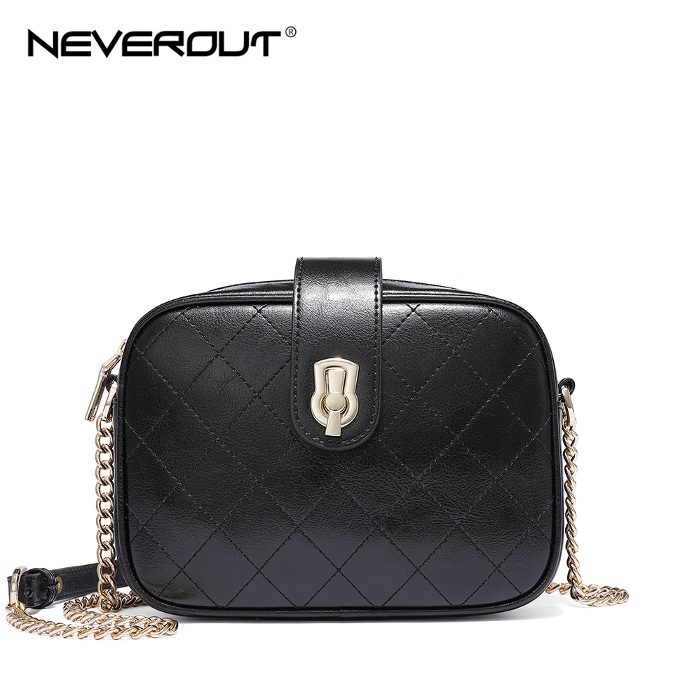 NEVEROUT Classic Lattice Bags for Women Shoulder Woman Messenger Bags Leather Shoulder Satchel Ladies Small Black Handbag in Top Handle Bags from Luggage Bags
