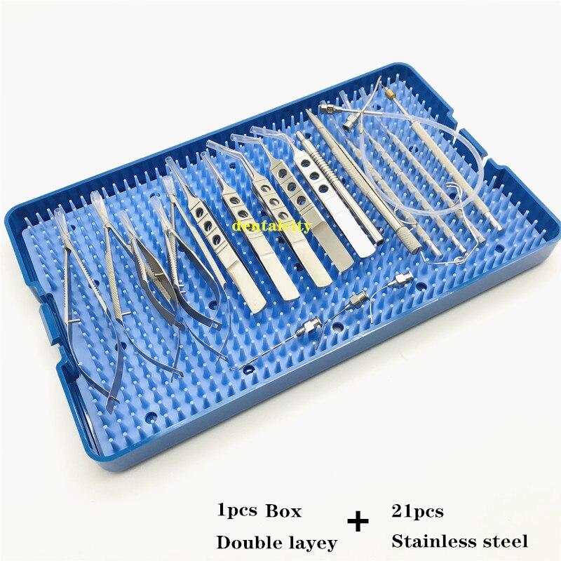 Image 5 - Ophthalmic Cataract Set surgical kit Eye Micro Surgery with sterilization tray box case 21PCSEyelid Tools   -