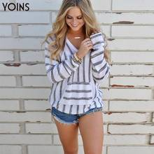 цены 2019 YONIS Winter Autumn Women Sweatshirts Stripe Front Pocket V-neck Long Sleeves Cute Lady Hoodies Casual Hooded Pullover Grey