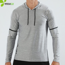 Plain Sport T Shirts Men Long Sleeve Hooded Caps Comfortable Thin Fabric Anti-Sweat Workout Running Top Male Fitness Gym Wear