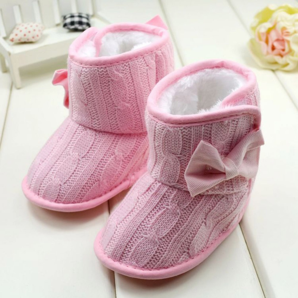 New Winter Baby Shoes Toddler Fleece Snow Boot Baby Warm Shoes  Infant Knitted Bowknot  Red, Pink, Gray, Rose