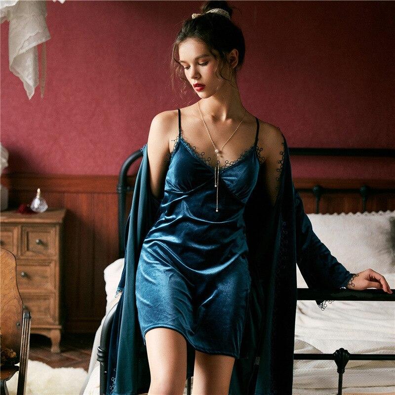 Lisacmvpnel Autumn Winter New Gold Velvet Lace Fashion Women Robe Set Thicken With Chest Spaghetti Strap Nightwear
