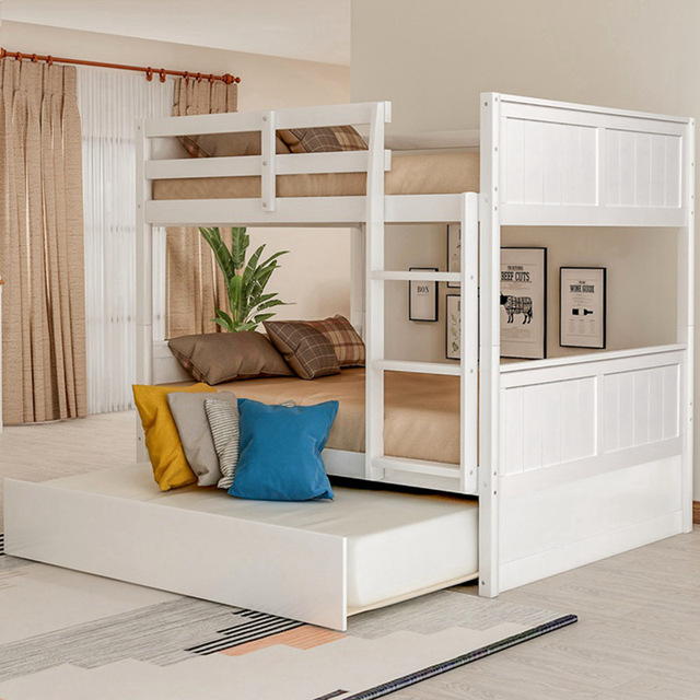 Bunk Bed with Twin Size Trundle w/  Ladder  2