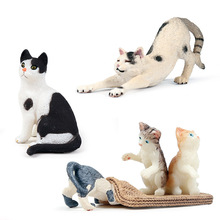 Childrens 3PCS/LOT Simulation cat model set play kitten fake decoration animal black and white toy
