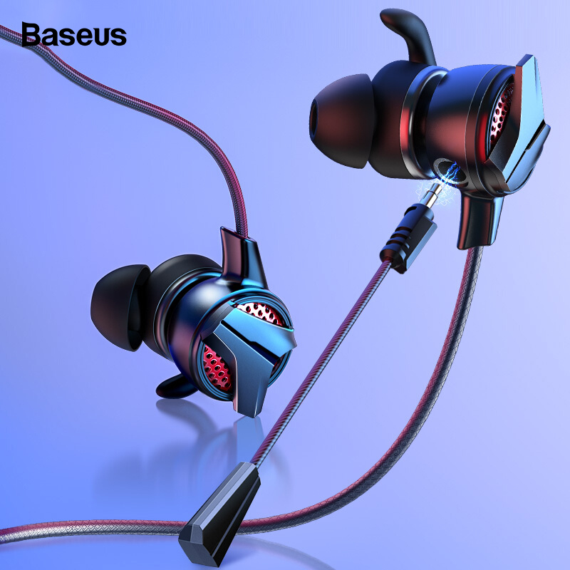 Baseus In-Ear Earphone 3.5mm Jack Type C Wired Headset for PUBG Gamer Gaming Headphones Hi-Fi Earbuds With Microphone Detachable image