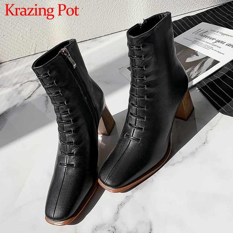 Krazing Pot Korean fashion style soft sheep leather square toe high heels mature elegant women winter warm Zip ankle boots L90