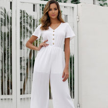 Loose Jumpsuits Women V Neck Winter Macacao Feminino High Waist Wide Leg Pants Short Sleeve Overalls Rompers Womens Jumpsuit(China)