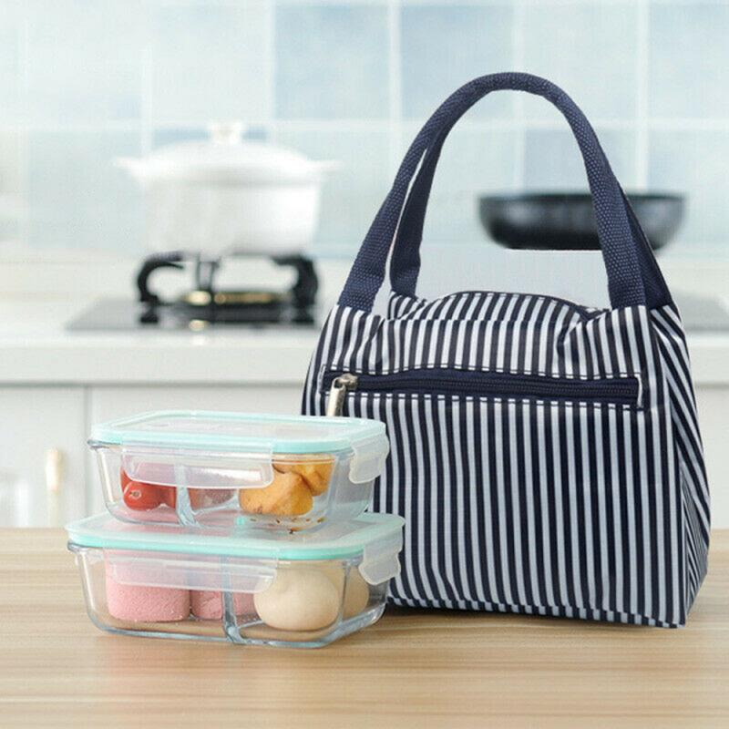 Cartoon Printed Canvas Lunch Bag Insulated Thermal Cooler Bags Picnic Food Box Supply Tote Picnic Storage Bag Pouch Lunch Bags
