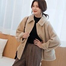 Womens coat 2019 winter new granules short fluff one sheep shearing lamb fur autumn and