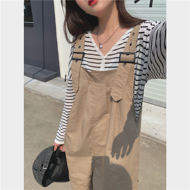 H0840f5a90dbb49a78a2505608d8e9327Q - Summer Loose Fitting Wide Leg Solid Overall Shorts