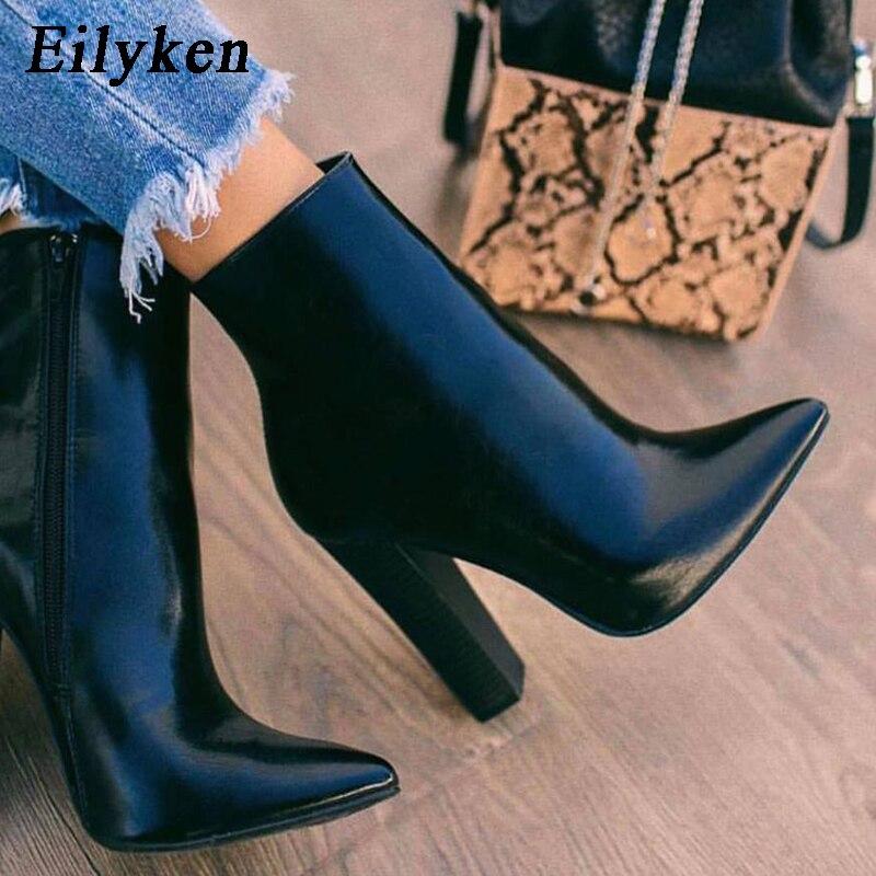 Eilyken/Новинка 2020 года; Зимние женские ботильоны; модные из искусственной кожи на высоком квадратном каблуке с острым носком на молнии; женски