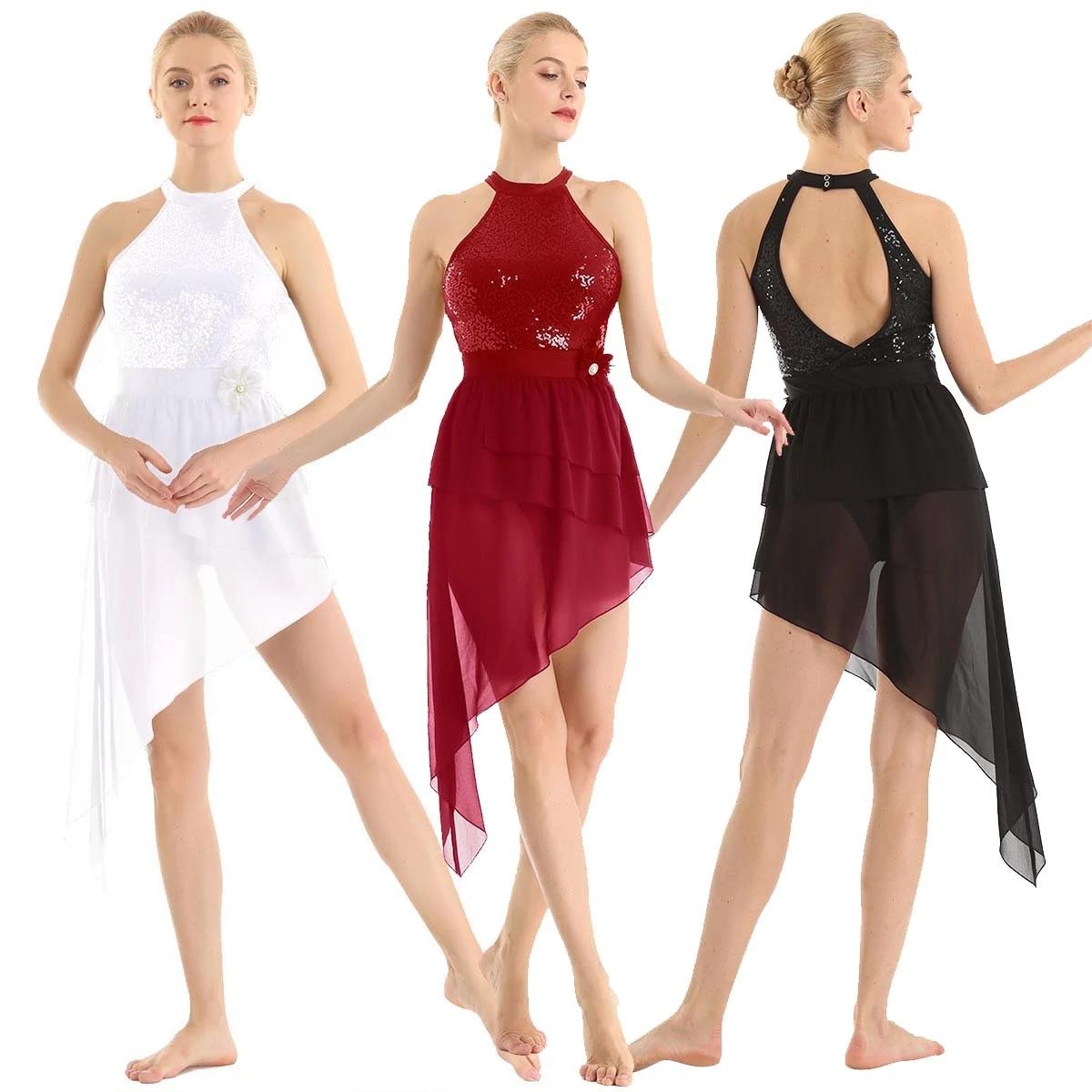 UK Girls Lyrical Halter Dance Dress Kids Ballet Ruched Leotard Skirt Dancewear