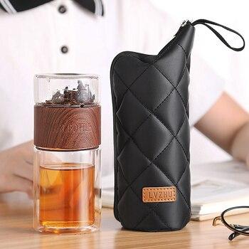 Glass Water Bottle With Tea Infuser Filter 200ml Tea Separation Double Wall Glass Bottle Bag Leakproof My Water Bottle Men Gift 2