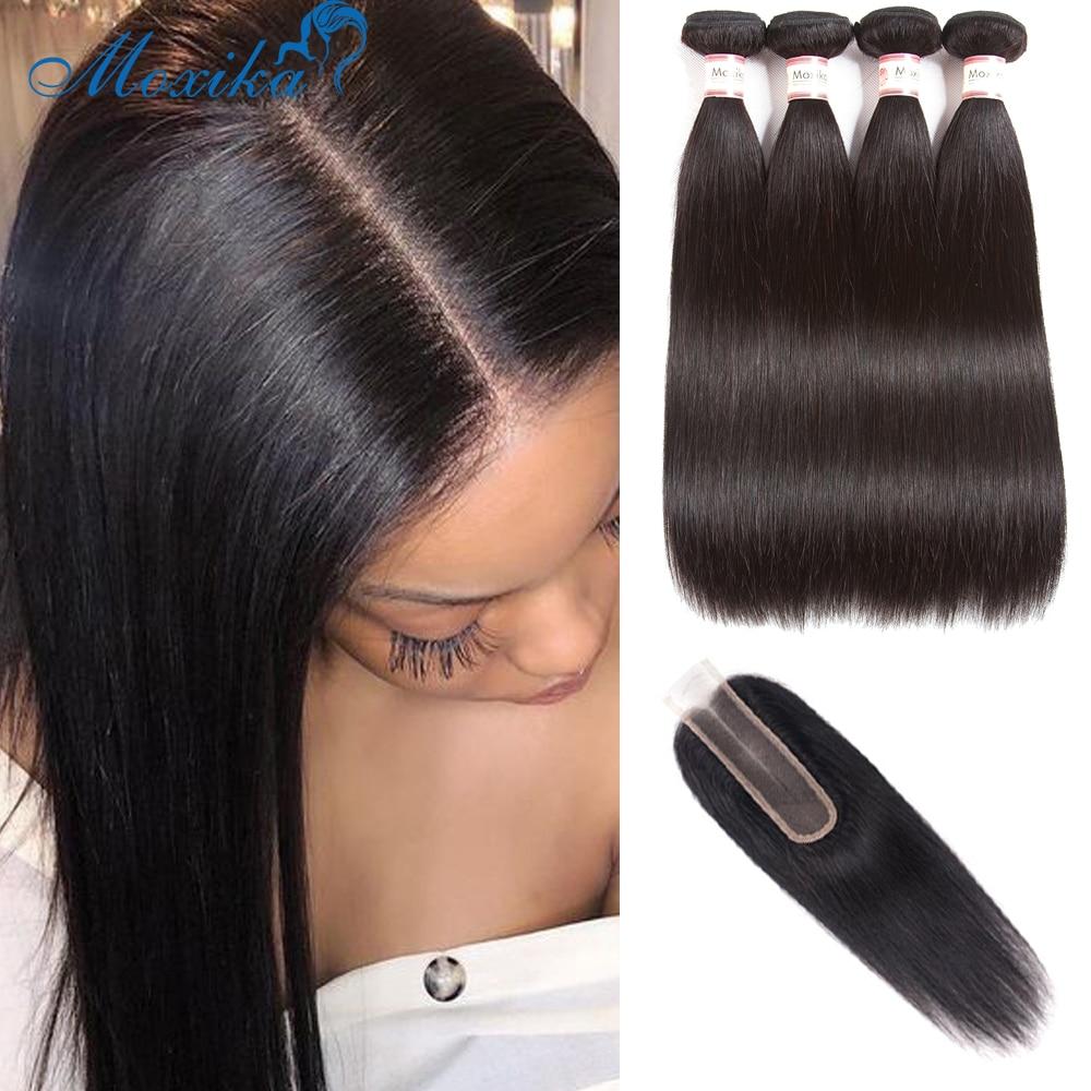 Moxika-mechones de pelo liso brasileño con cierre, 3 mechones de pelo humano con cierre, parte M, 2x6, cierre de encaje Kim K con mechones