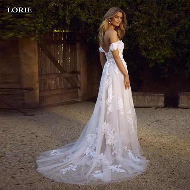 LORIE Boho Wedding Dress off The Shoulder Vintage Lace Appliques Bride Dresses Vestido De Novia Custom Made 3
