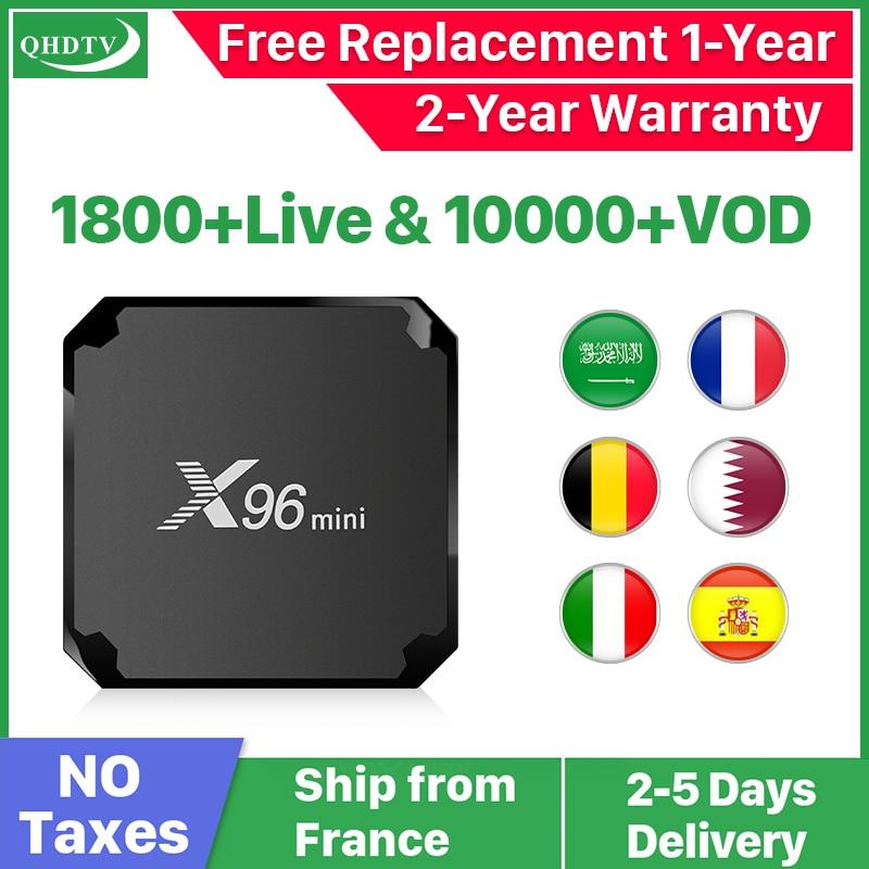 IPTV France QHDTV 1 an Code X96 Mini Android 7.1 TV BOX S905W X96Mini IPTV belgique pays-bas arabe France IPTV abonnement