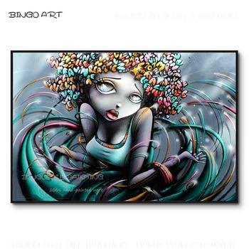 Fashion Wall Art Hand-painted High Quality Street Art American Black Woman Oil Painting Beautiful America Woman Figure Painting