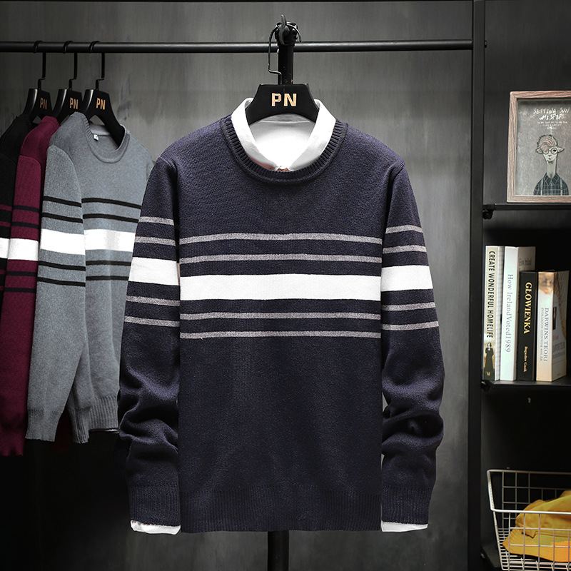 In The Spring Of 2020 New Men Striped Sweater Sets Teenagers Round Collar Knitting Render Unlined Upper Garment