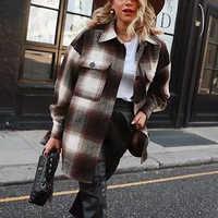 Mulheres do vintage 2019 manga longa casacos de lã moda senhoras grosso xadrez casaco feminino streetwear elegante meninas oversize jaqueta chique