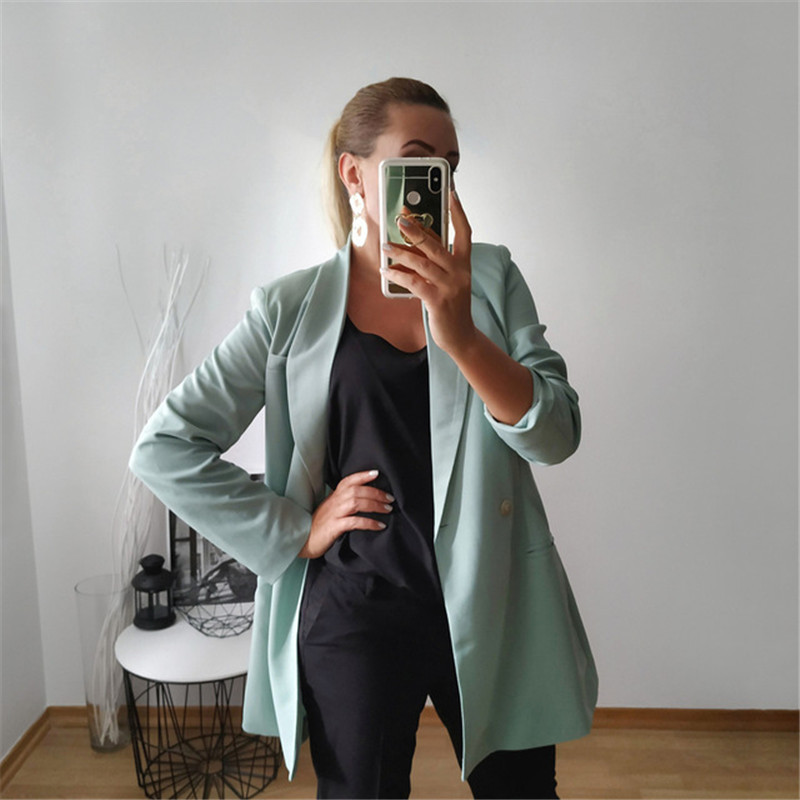 Women Chic Blue Blazer Pockets Double Breasted Long Sleeve Office Wear Coat Solid Female Casual Button Outerwear Ladies Jacket