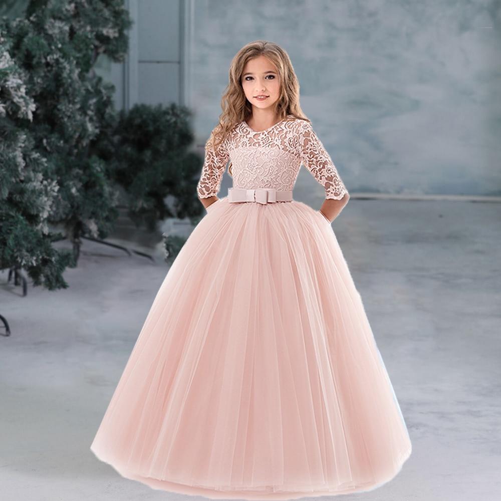 Flower Girl's Birthday Banquet Long Sleeve Lace Dress Elegant Kid's Wedding Long White Dress Children Communion Evening Dress 1