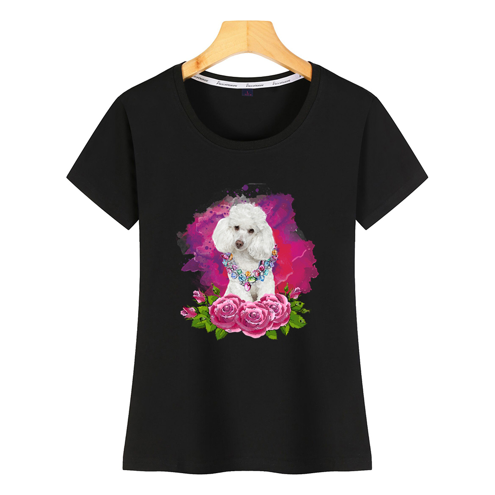 Tops T Shirt Women Watercolor Poodle With Flowers Design Black Short Female Shirt