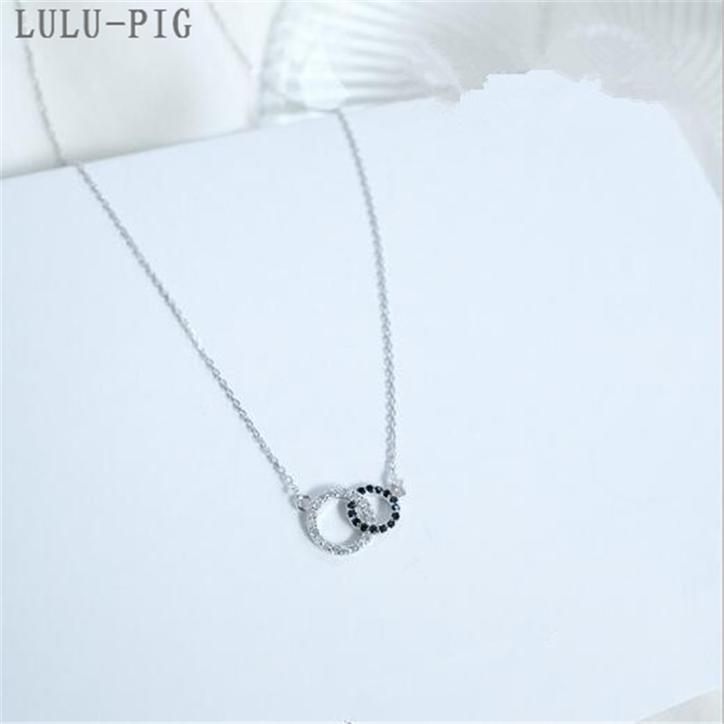 LULU-PIG New User BONUS New 2019 simple black and white circle with double circle Silver plated necklace CD007 image