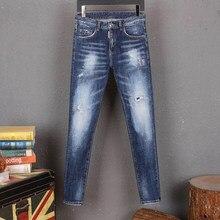 Estilo europeu dsq marca jeans men estiramento elástico fino denim jeans dos homens casual lavado branco azul bolsos jeans para o homem 8222