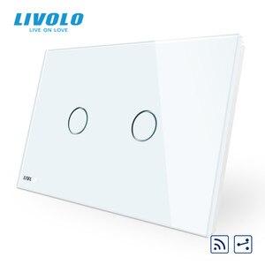 Image 2 - Livolo US C9Standard مفتاح حائط يعمل باللمس ، مقاطعة مع مؤشر LED ، جهاز التحكم عن بعد ، لوحة زجاج كريستال