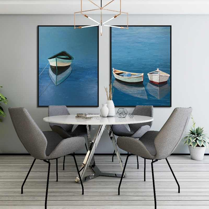 В скандинавском стиле Уникальная лодка и красивая морская настенная живопись на