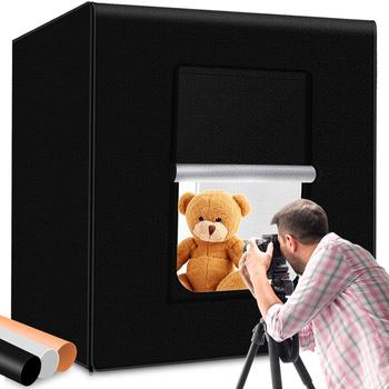 SPASH fotografia LightBox możliwość przyciemniania Photo Studio Softbox lampka przenośna pudełko w kształcie namiotu zestaw z 3 tłem 80*80cm 31 5 cala tanie i dobre opinie CN (pochodzenie) 80*80*80CM Pakiet 1 Polyester fabrics 80*80*80CM 31 5inch AC 100~240V DC 24V 5500K 12000-13000LUX 126pcs