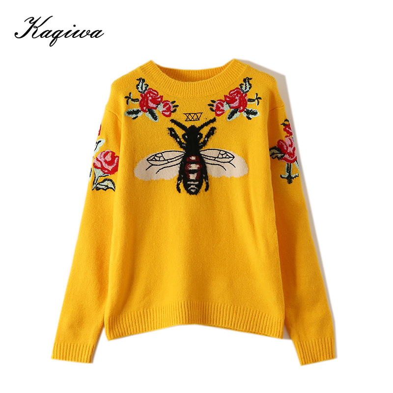 2020 Fashion Runway Women Sweater Autumn Winter Floral Embroidery Bee Animal Long Sleeve Yellow Pullover Jumper Tops B-006