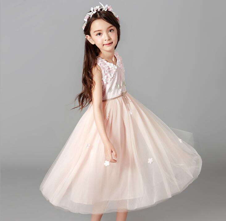 Fancy Flower Ball Gown for Princess Party Dress Children Formal Clothes Kids Dresses for Girls Wedding Evening Clothing ZL103