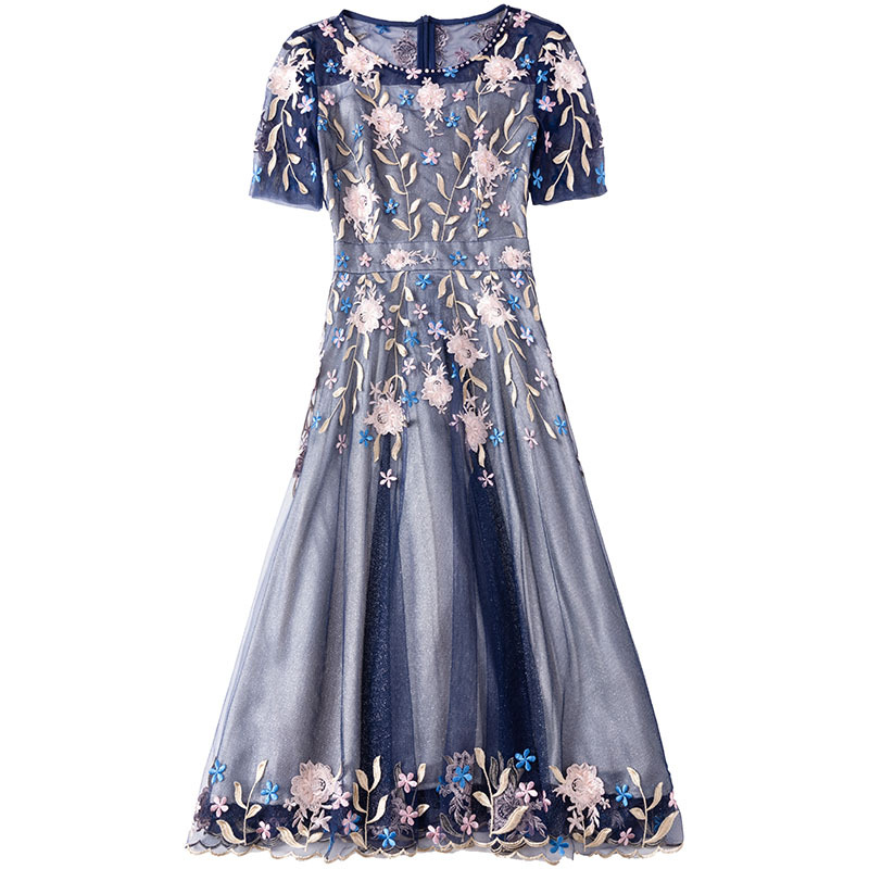 2019 Summer New Round Neck Short-sleeved Slim High Waist Dress Beaded Mesh Slim Temperament Elegant A-line Dresses