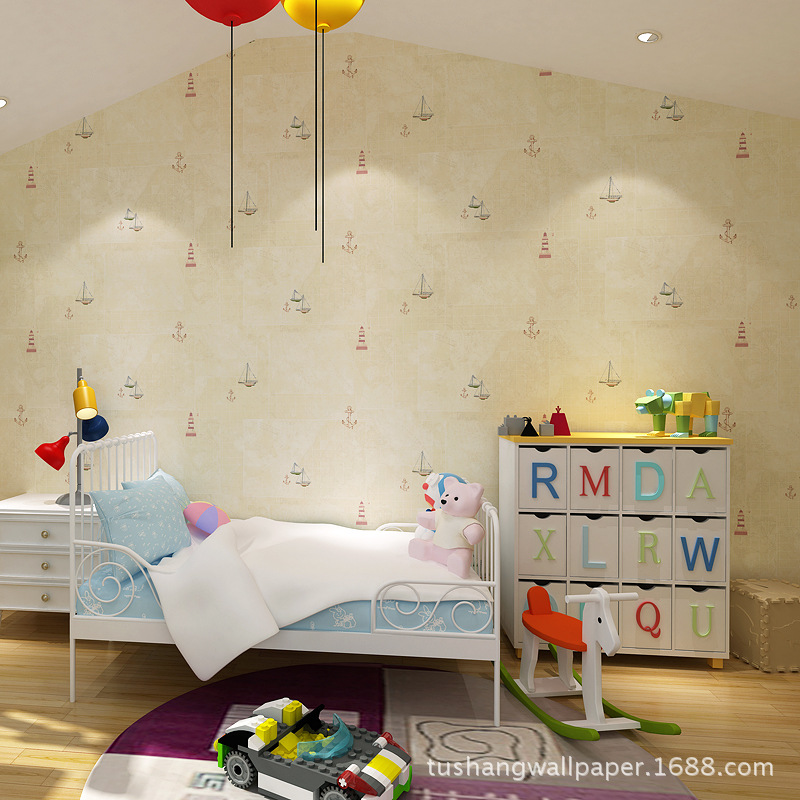 Tu Shang Fun CHILDREN'S Room Navigation Environmentally Friendly Nonwoven Fabric Fiber Wallpaper Warm Bedroom Library Wallpaper