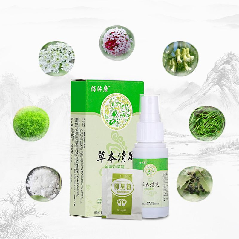Herbal Foot Spray Antibacterial Deodorant Powder Anti Itch Sweat Feet Liquid Q0KD
