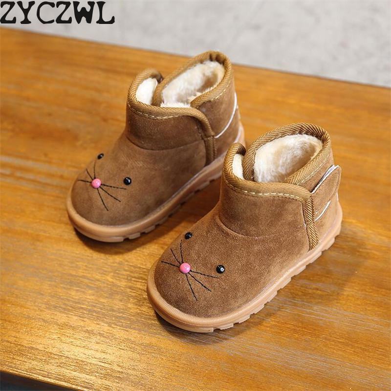 2019 Winter New Children's Cartoon Boots Girls Snow Boots Boys Cotton Shoes Plus Velvet Baby Shoes Boots Pink Brown Red|Boots|   - title=